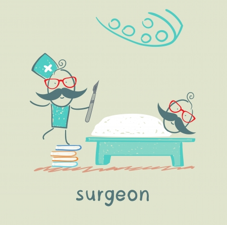 surgeon operating: surgeon holding a scalpel and stands on a pile of books next to a patient who is lying on the operating table