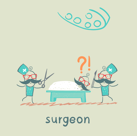 surgeon operating: surgeon holding a scalpel and scissors and stands near the patient, who is lying on the operating table Stock Photo