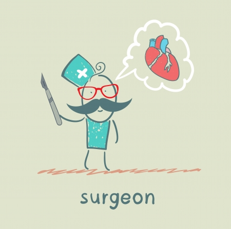 gauze: surgeon holding a scalpel and thinks about the heart