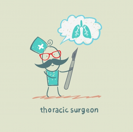 thoracic surgeon holding a scalpel and thinks of the lungs Stock Photo - 22921267