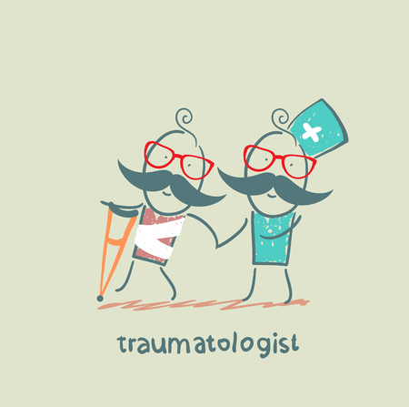 traumatologist helps the patient with trauma