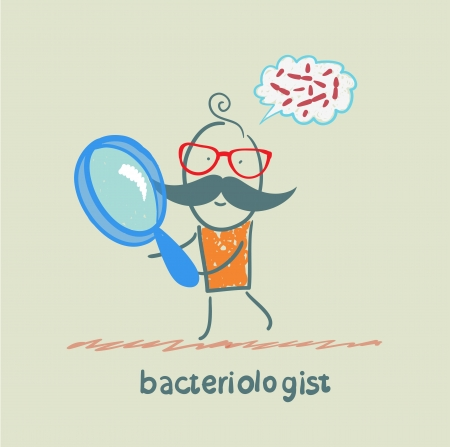 reagents: bacteriologist looks through a magnifying glass on germs and thinks of them Illustration