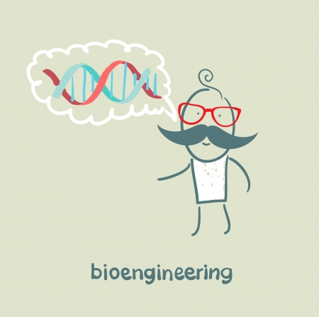 bioengineer thinks of human DNA Stock Vector - 23065577