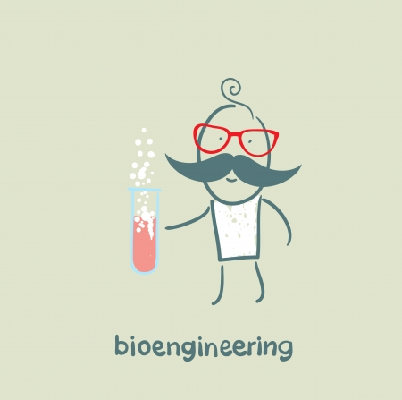 bioengineer holding a test tube Stock Vector - 23065586