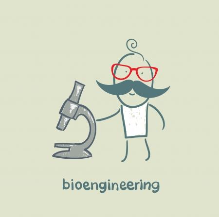 bioengineer looking through a microscope Stock Vector - 23065587