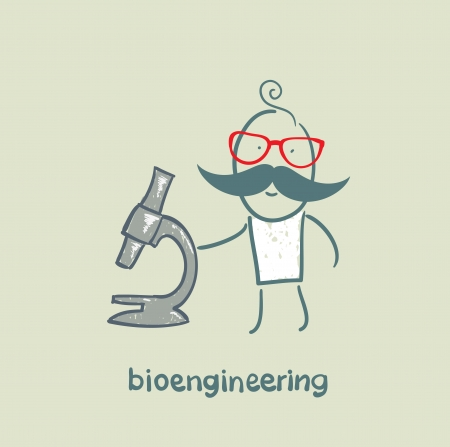 bioengineer looking through a microscope Stock Vector - 23065587