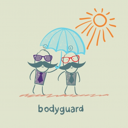 bodyguard: bodyguard of businessman holding an umbrella Illustration