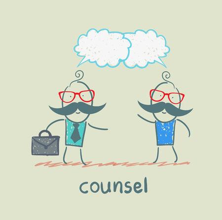 counsel speaks with a client Illusztráció