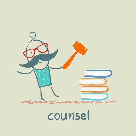 counsel knocking on the books Illusztráció