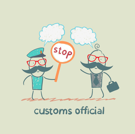 customs: customs officer holding a stop sign