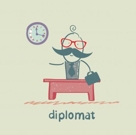 diplomat sitting at a desk Stock Vector - 23068133