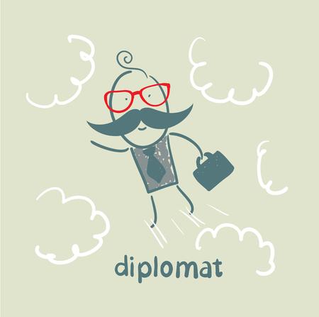 diplomat flies through the sky Stock Vector - 23068136