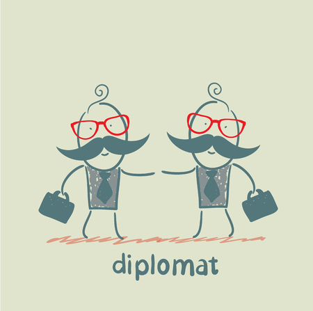 diplomats shake hands Stock Vector - 23068132