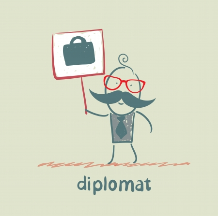 diplomat: diplomat holds a placard on which painted a suitcase
