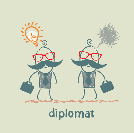 Diplomats with good idea and bad thoughts Stock Vector - 23068138