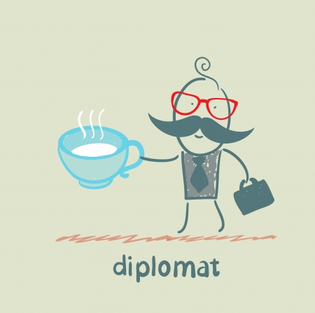 diplomat with a cup of tea Stock Vector - 23068142