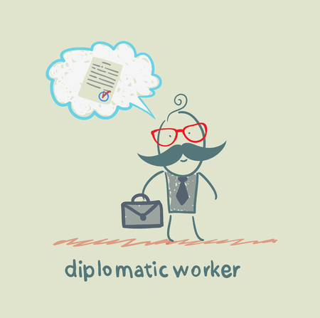 diplomatic worker thinks about the document Vector