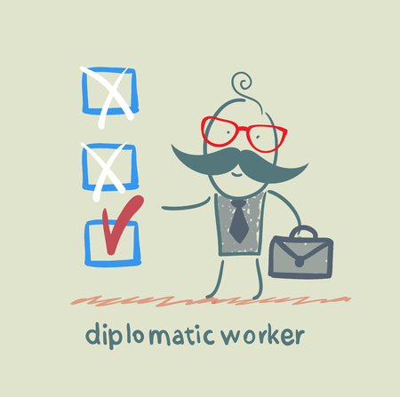 diplomatic worker puts a tick Vector