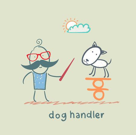 canine teaches the dog to keep the balance Illustration