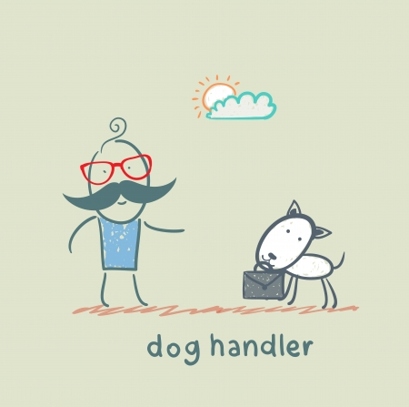 teaches: canine teaches the dog to bring a suitcase