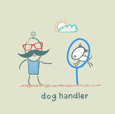 canine teaches the dog to jump through a ring Stock Vector - 23068329