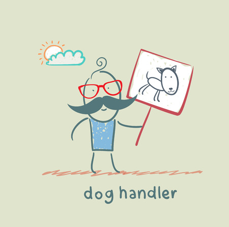 canine holds a poster with a dog Stock Vector - 23068331