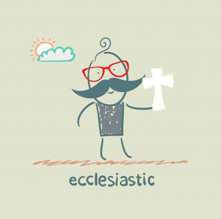 nun: ecclesiastic holding a cross Illustration