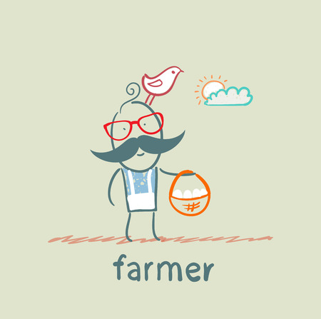 carries: farmer carries a basket of eggs Illustration