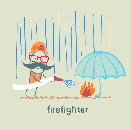 extinguish: firefighter standing in the rain and extinguish the fire under the umbrella