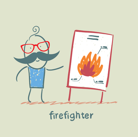 said: firefighter said the presentation of the fire Illustration