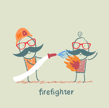 burning man: firefighter quenches a burning man Illustration