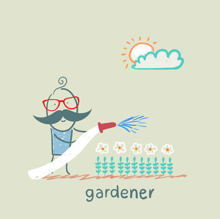 waters: gardener waters the flowers