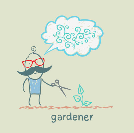 Gardener cuts a bush and think about the beautiful plants Vector