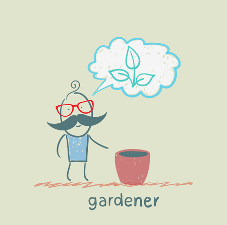 gardener thinks of a beautiful plant Vector