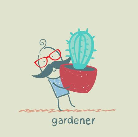 gardener carries a cactus 일러스트