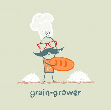 keeps: grain grower keeps the bread of flour