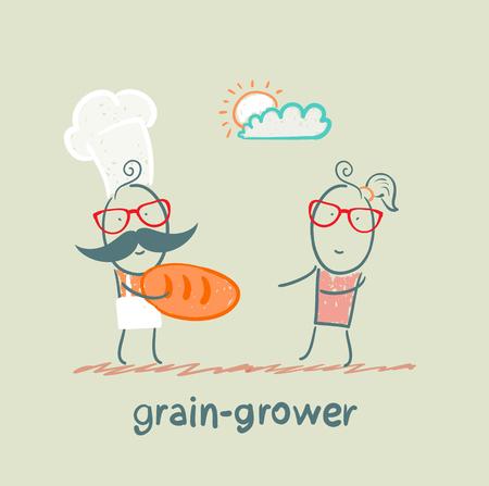 grain grower gives bread to a girl Vector