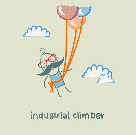 safety harness: industrial climber flies on balloons Illustration