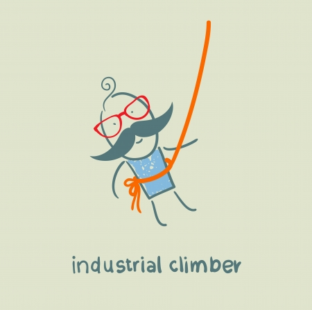 industrial climber hanging on a rope Stock Vector - 23060222
