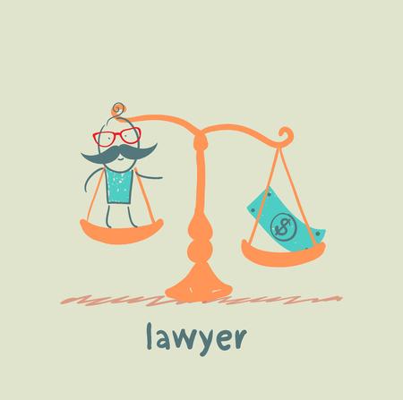 advocaat is in de balans met het geld