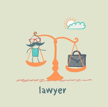 advocaat is op de weegschaal met een koffer
