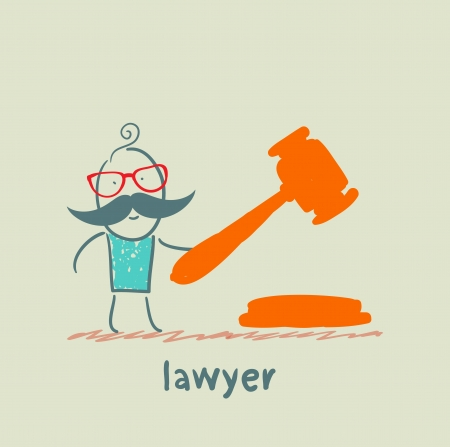 knocking: lawyer knocking hammer Illustration