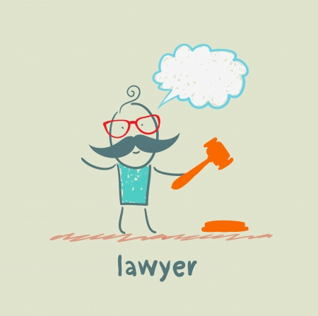 thinks: lawyer knocking hammer and thinks