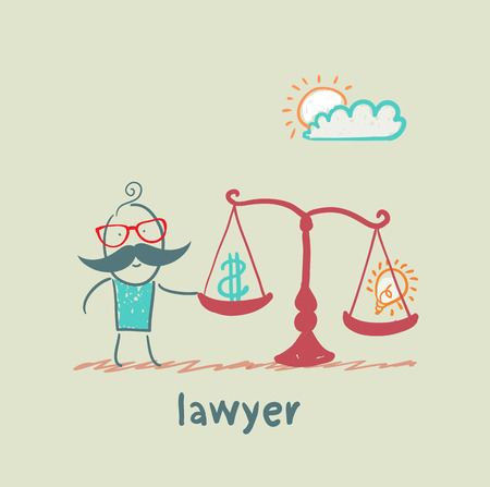 weighs: Attorney weighs the balance between money and idea