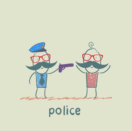 criminal: police with a gun against a criminal Illustration