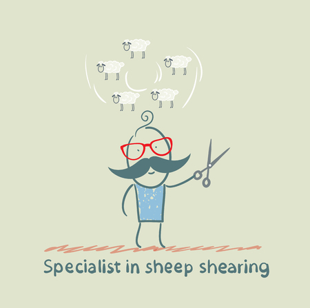 shear: expert thinks about how to shear sheep Illustration