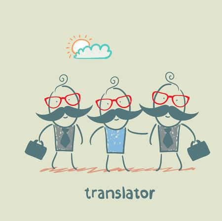 multilingual: translator helps foreign businessmen