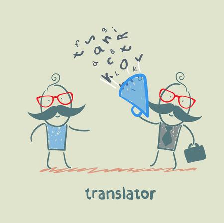 multilingual: translator listens as businessman shouting into a megaphone Illustration