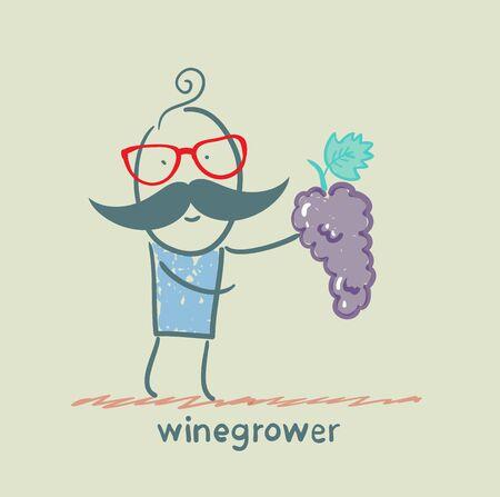 winegrower 포도의 무리를 보유하고있다