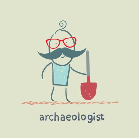 archaeologist holding a shovel